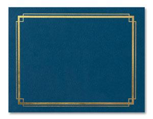 Marine Blue &quot;Border&quot; Gold Embossed A4 Certificate Jackets