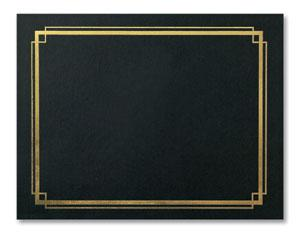 "Ebony ""Border"" Gold Embossed A4 Certificate Jackets"