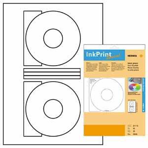Herma White Glossy Cd Labels (2 Up 10 Sheets)