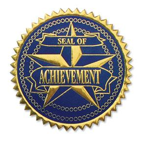Achievement Certificate Seals - Blue/Gold