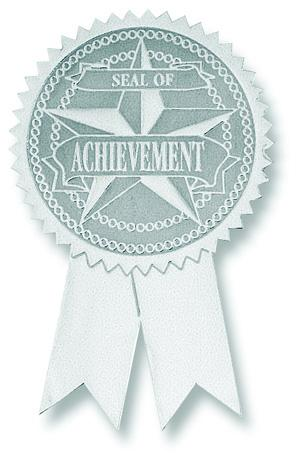 Achievement Certificate Seals With Tails - Silver