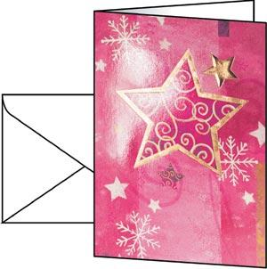 Golden Star Christmas Card (Glossy Gold Embossed)
